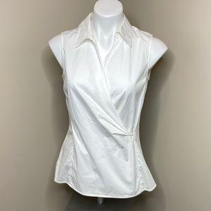 Talbots white sleeveless collared wrap top size 6